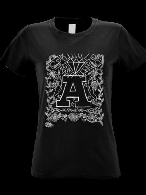 Camiseta Apocalipsis Negra Manga Corta Mujer