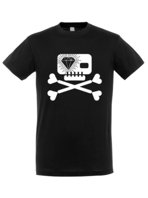 Camiseta Calavera Diamante Negra Manga Corta