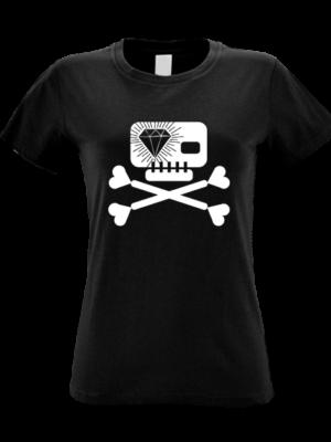 Camiseta Calavera Diamante Negra Manga Corta Mujer