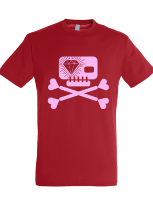 Camiseta Calavera Diamante Roja Manga Corta