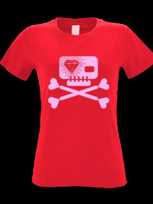 Camiseta Calavera Diamante Roja Manga Corta Mujer