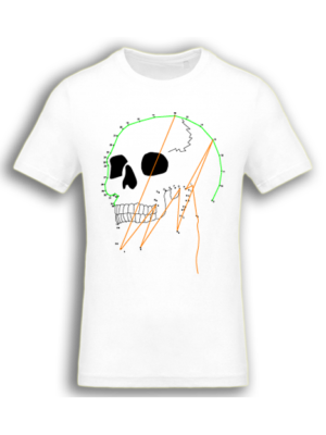 Camiseta Calavera Puntos Blanca Manga Corta