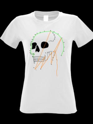 Camiseta Calavera Puntos Blanca Manga Corta Mujer