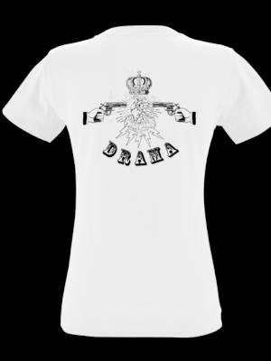 Camiseta Drama Blanca Manga Corta Mujer Detras